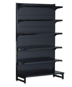 Single-sided-medium-duty-flat-black-gondola-retail-display-shop-shelving-1200mm-width-bay-run-2