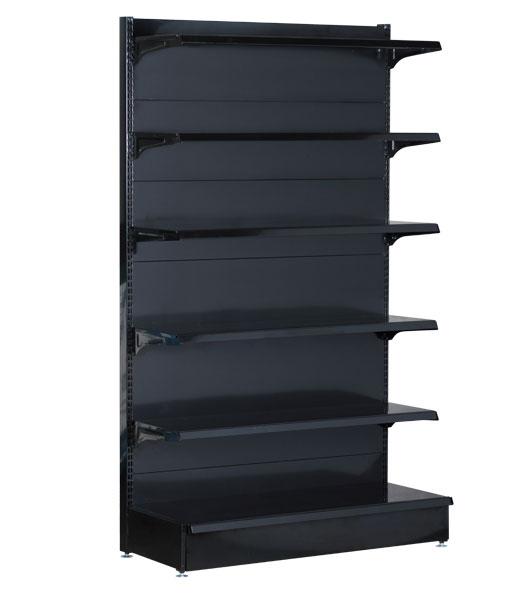 Single-sided-medium-duty-flat-black-gondola-retail-display-shop-shelving-1200mm-width-bay-run