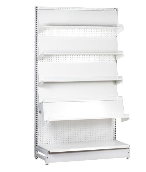 Single-sided-medium-duty-flat-white-gondola-retail-display-shop-shelving-1200mm-width-bay-run-2