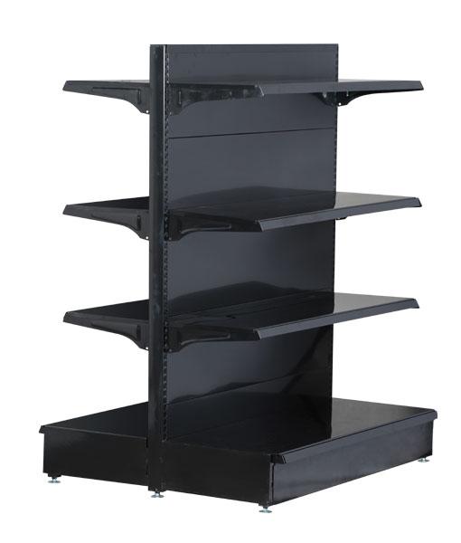 double-sided-medium-duty-flat-black-gondola-retail-display-shop-shelving-1200mm-width-bay-run