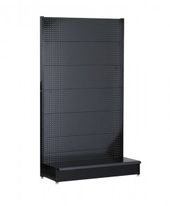 Black-medium-duty-single-sided--peg-board-gondola-retail-display-shelving-base-shelf-only