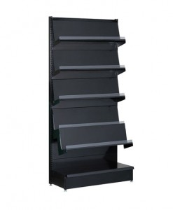 Black-medium-duty-single-sided--peg-board-gondola-retail-display-shelving-with-upper-shelves-with-magzine-racks