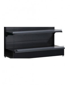 Black-medium-duty-single-sided--peg-board-gondola-retail-display-shelving-with-upper-shelves