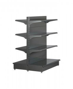 Hammertone-heavy-duty-double sided--flat back-gondola-retail-display-shelving-with-upper-shelves-2