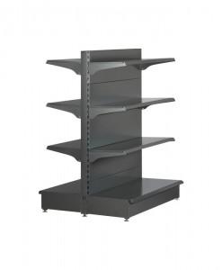 Hammertone-heavy-duty-double sided--flat back-gondola-retail-display-shelving-with-upper-shelves-2