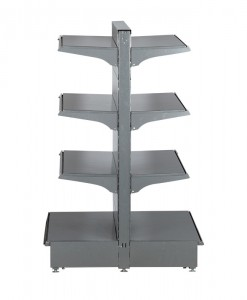 Hammertone-heavy-duty-double-sided--peg-board-gondola-retail-display-shelving-with-upper-shelves-bay run