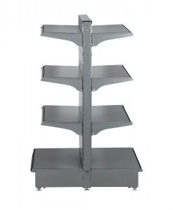 Hammertone-heavy-duty-double-sided--peg-board-gondola-retail-display-shelving-with-upper-shelves-bay run