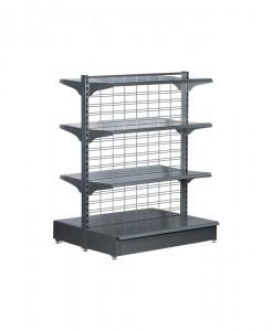 Hammertone-heavy-duty-mesh back double sided -gondola-retail-display-shelving-with-upper-shelves-98