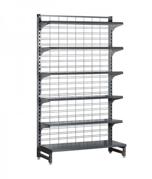 Hammertone-heavy-duty-mesh back-single sided gondola-retail-display-shelving-with-upper-shelves-6