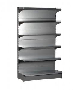 Hammertone-heavy-duty-single-sided--flat back-gondola-retail-display-shelving-with-upper-shelves-2