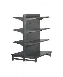 Hammertone-heavy-duty-single-sided--flat back-gondola-retail-display-shelving-with-upper-shelves-3