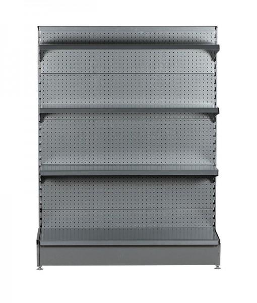 Hammertone-heavy-duty-single-sided--peg-board-gondola-retail-display-shelving-with-upper-shelves-6