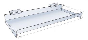Slat wall acrylic straight shelf