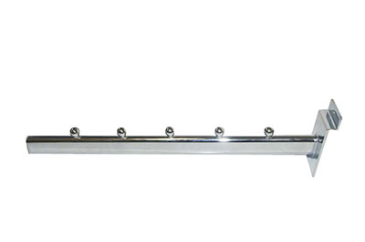Slat-wall-panel-accessories---Chrome-Straight-Arm-Item-hanger---5ball---30cm.