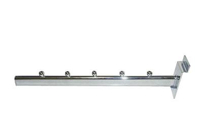 Slat-wall-panel-accessories---Chrome-Straight-Arm-Item-hanger---5ball---30cm.