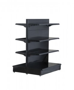 black-medium-duty-double-sided-flat back-gondola-retail-display-shelving-with-upper-shelves