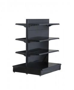 black-medium-duty-double-sided-flat back-gondola-retail-display-shelving-with-upper-shelves