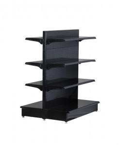 black-medium-duty-double-sided-peg-board-gondola-retail-display-shelving-with-upper-shelves