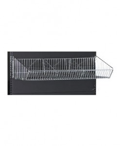black-medium-duty-single-sided-flat-back-gondola-retail-display-shelving-with-upper--baskets