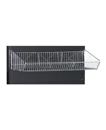 black-medium-duty-single-sided-flat-back-gondola-retail-display-shelving-with-upper--baskets