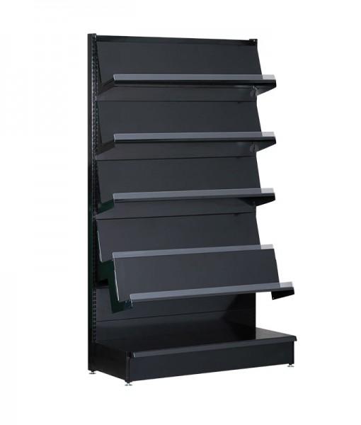 black-medium-duty-single-sided-flat back-gondola-retail-display-shelving-with-upper-shelves magazine rack