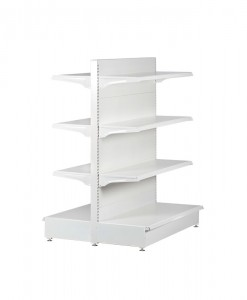 white-medium-duty-double-sided-flat back-gondola-retail-display-shelving-with-upper-shelves