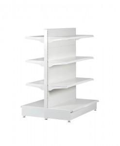 white-medium-duty-double-sided-flat back-gondola-retail-display-shelving-with-upper-shelves