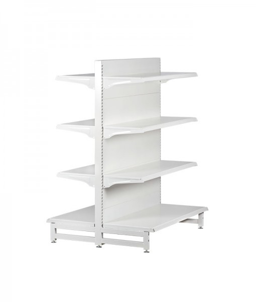 white-medium-duty-double-sided-flat back-gondola-retail-display-shelving-with-upper-shelves 4