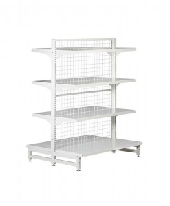 white-medium-duty-double-sided-mesh-back-gondola-retail-display-shelving-with-upper-shelves