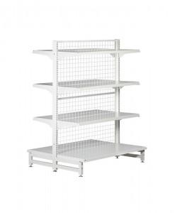 white-medium-duty-double-sided-mesh-back-gondola-retail-display-shelving-with-upper-shelves