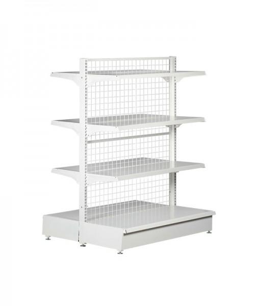 white-medium-duty-double-sided-mesh-back-gondola-retail-display-shelving-with-upper-shelves bay run