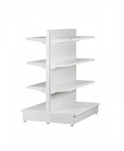 white-medium-duty-double-sided-peg-board-gondola-retail-display-shelving-with-upper-shelves