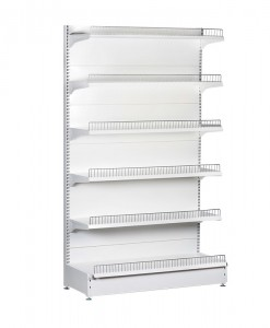 white-medium-duty-single-sided-flat back-gondola-retail-display-shelving-with-upper-shelves