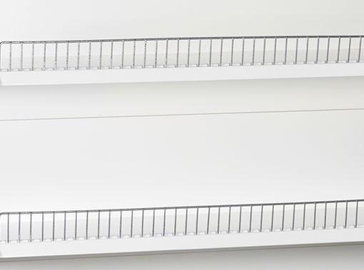 white-medium-duty-single-sided-flat back-gondola-retail-display-shelving-with-upper-shelves 4