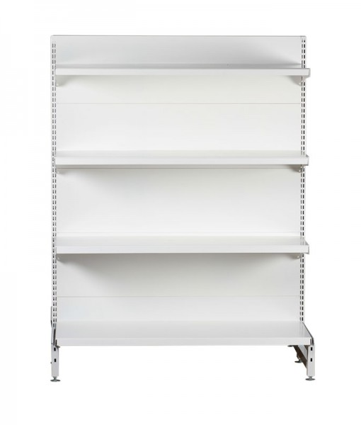 white-medium-duty-single-sided-flat back-gondola-retail-display-shelving-with-upper-shelves bay run