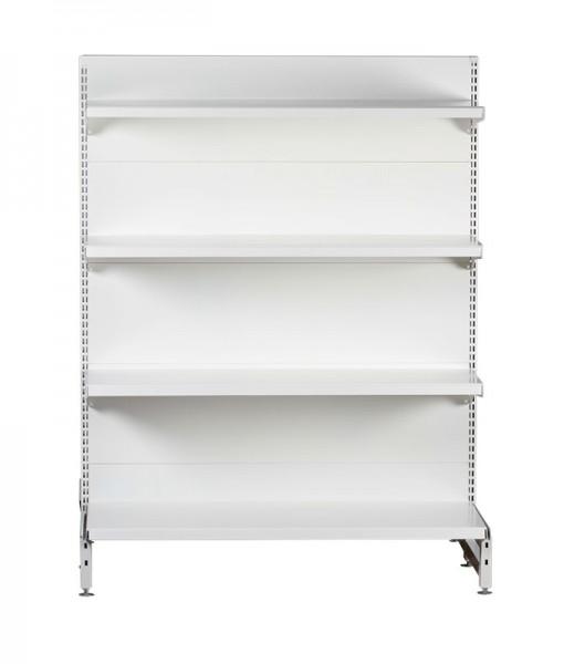 white-medium-duty-single-sided-flat back-gondola-retail-display-shelving-with-upper-shelves bay run